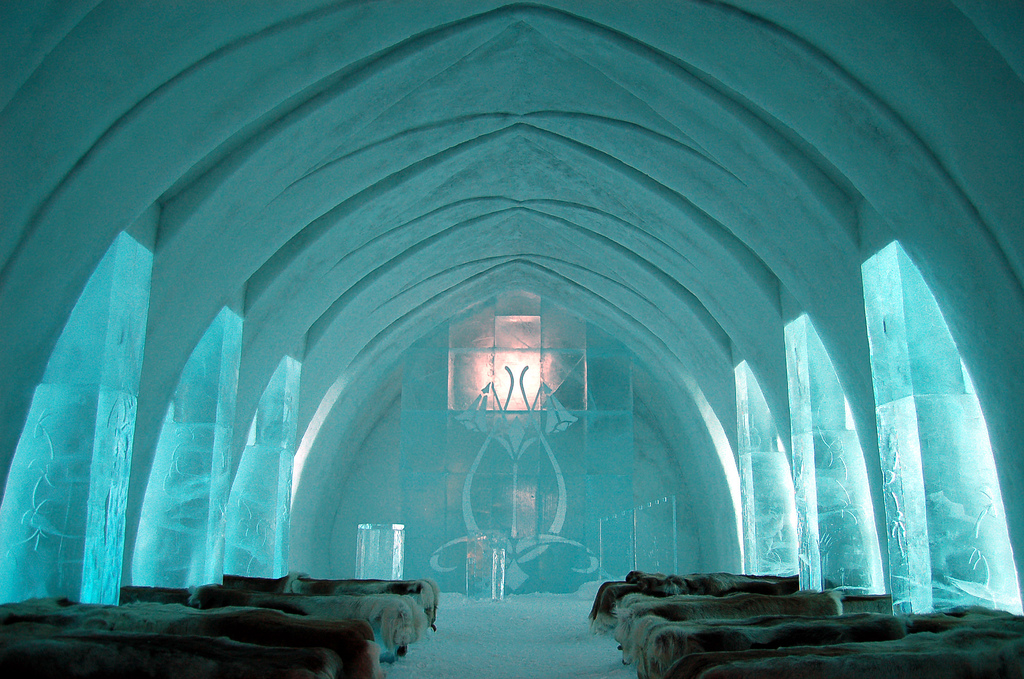 ľadový hotel v Jukkasjarvi