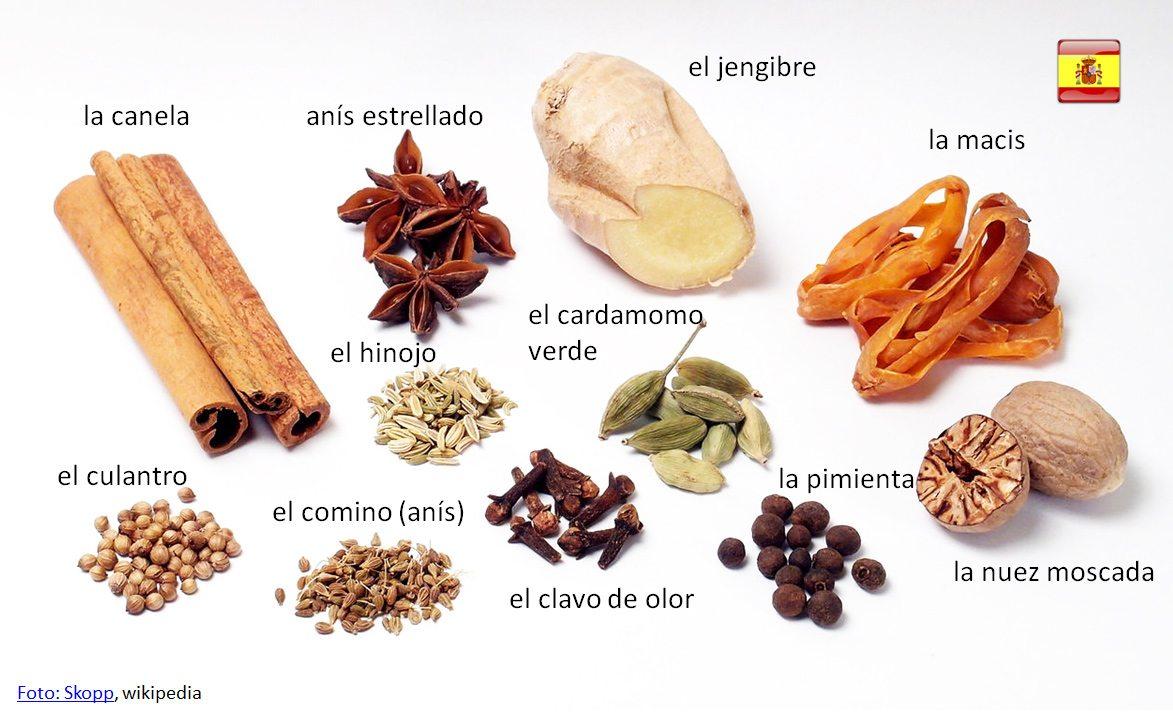 korenie a bylinky po španielsky