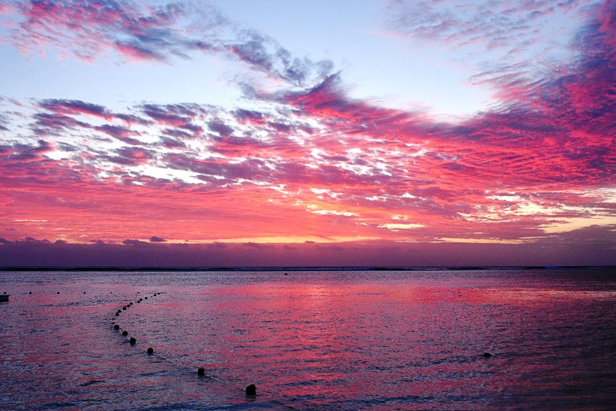 západ slnka na ostrove Maurícius