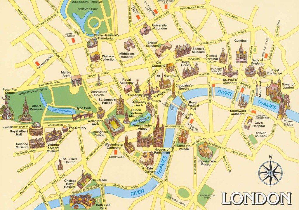 turistická mapa Londýna