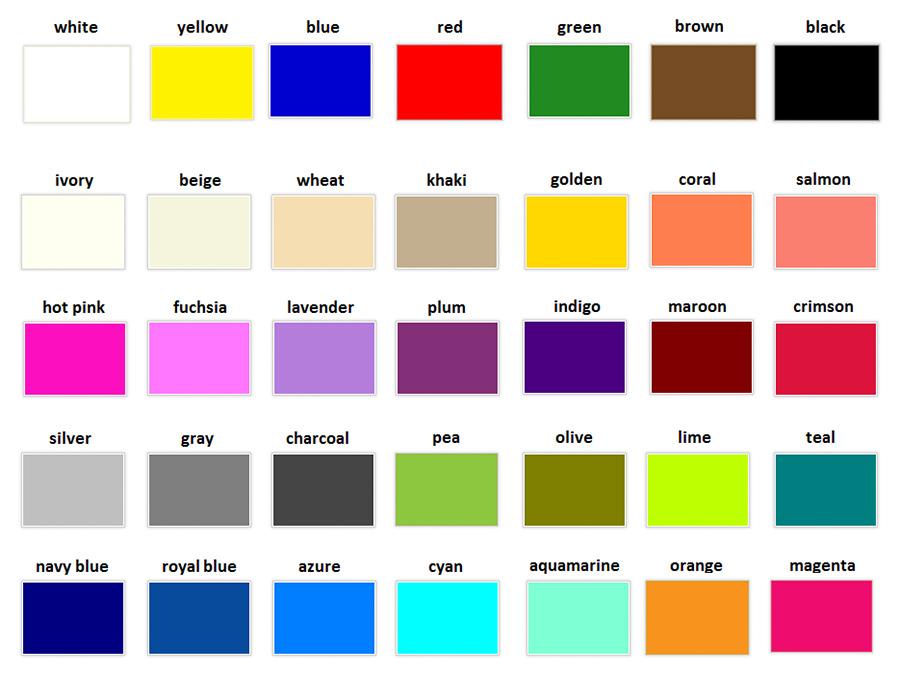 farby po anglicky