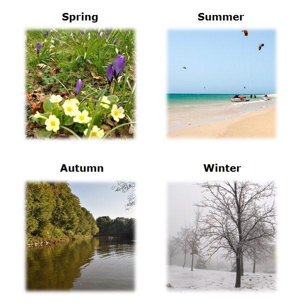 ročné obdobia, dni a mesiace po anglicky