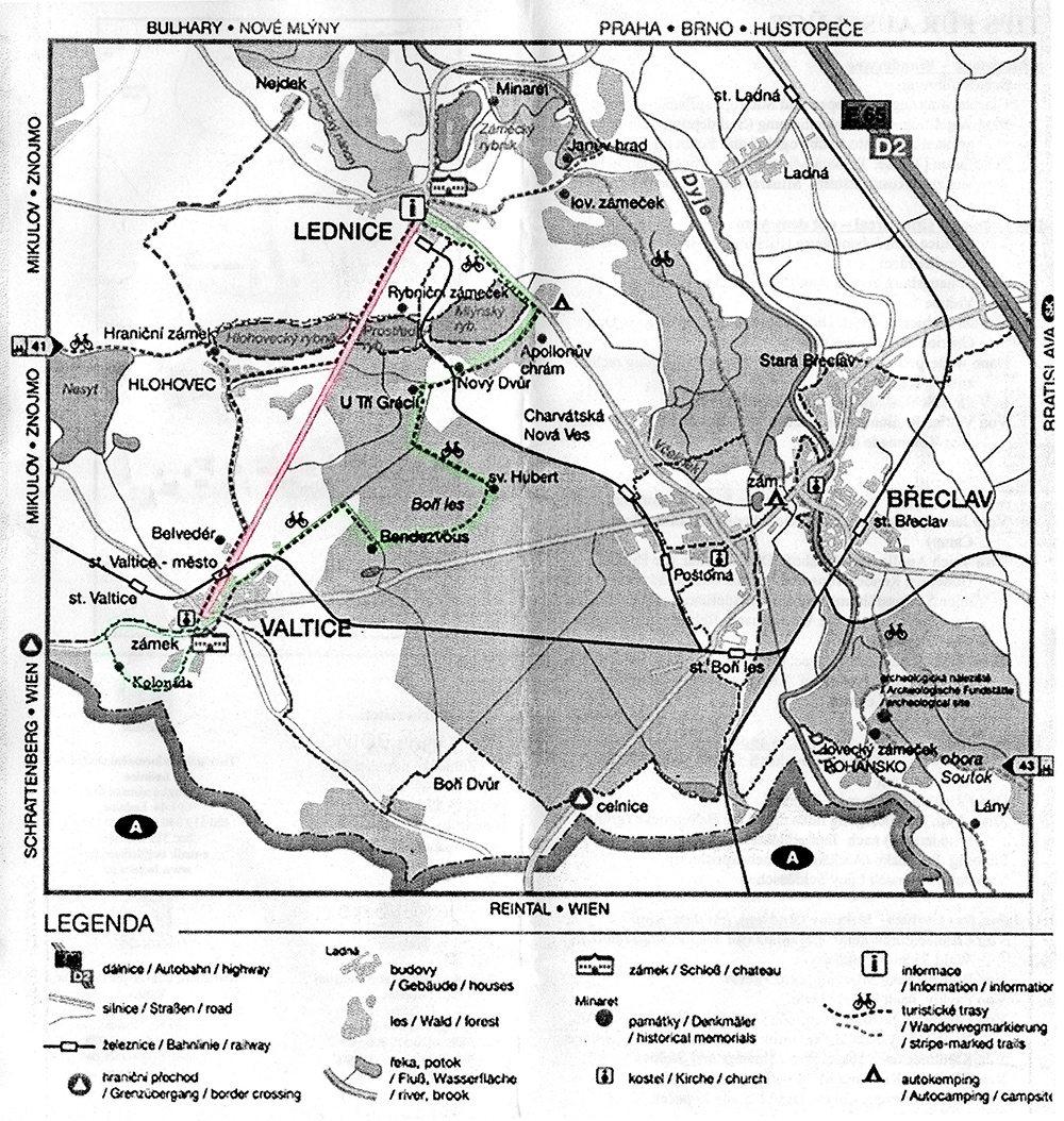Valtice Lednice mapa pamiatok