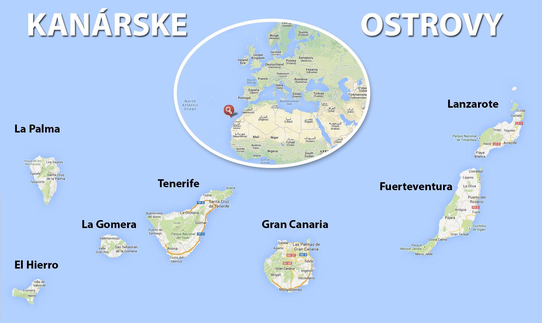 mapa kanárske ostrovy