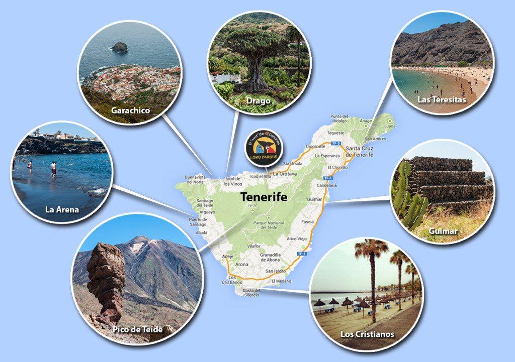 Tenerife mapa s pamiatkami