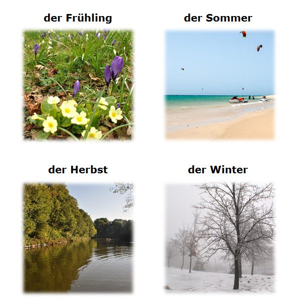 ročné obdobia, dni a mesiace po nemecky