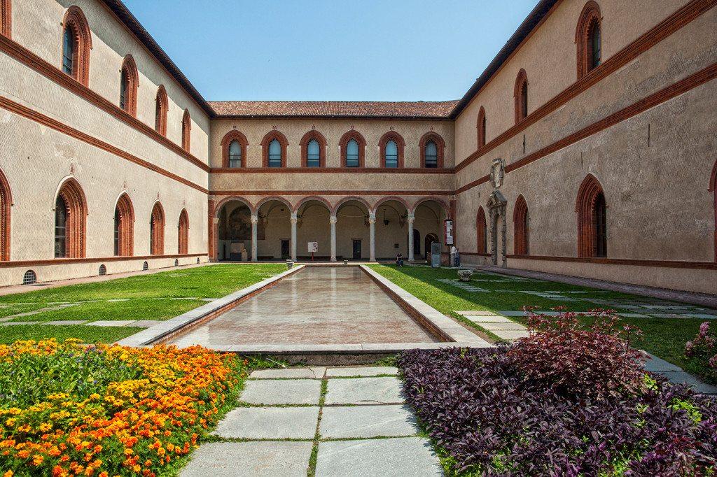 záhrady Castello Sforzesco