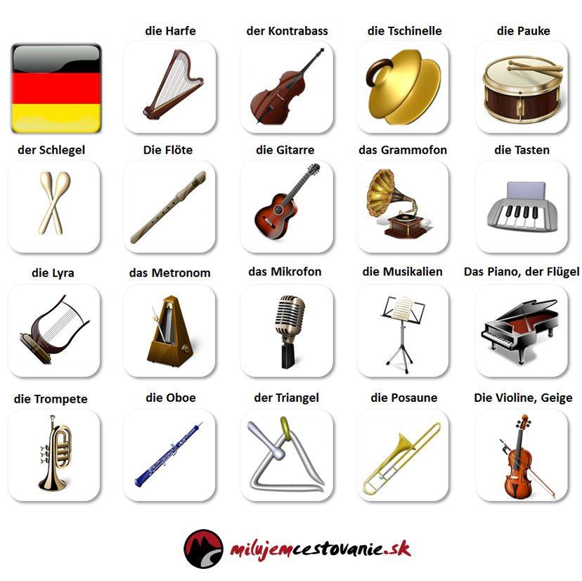 hudobné nástroje a hudba po nemecky