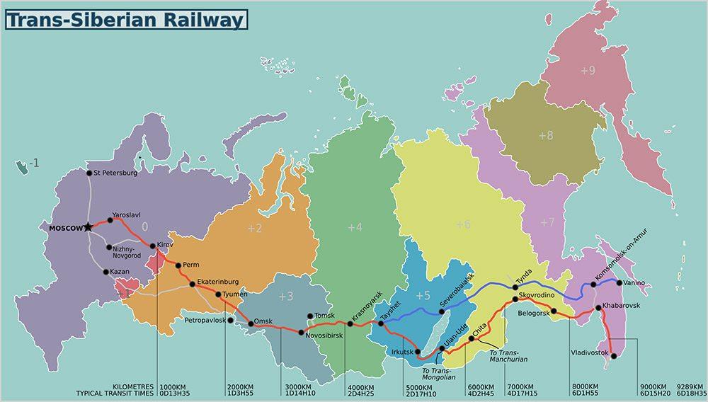 Mapa transsibirskej magistrály