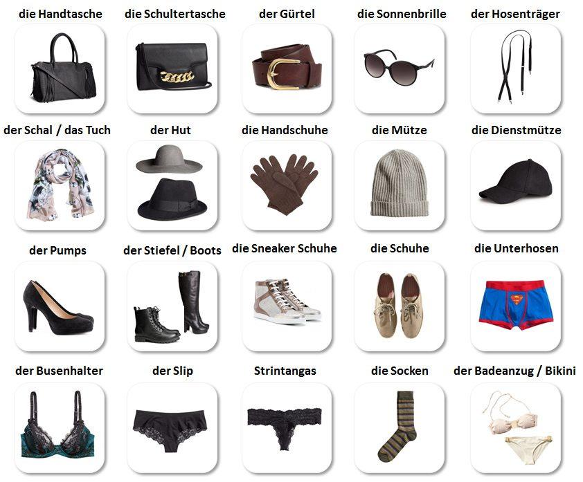 Oblečenie a doplnky po nemecky