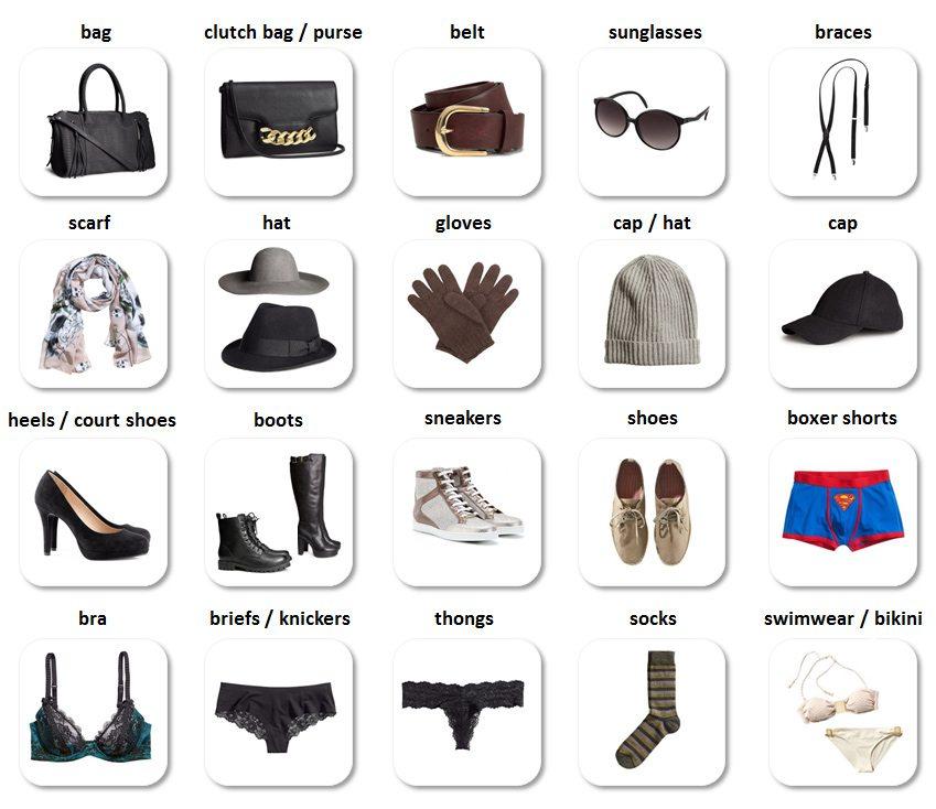 oblečenie a doplnky po anglicky