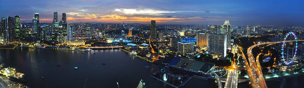 singapur - nočná Marina Bay