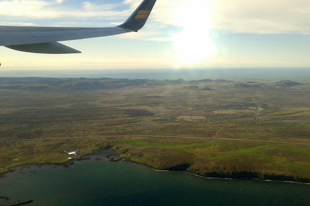 Letecký pohľad na Island