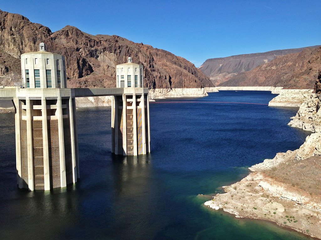 Hoover dam upstream view, USA, penstock towers