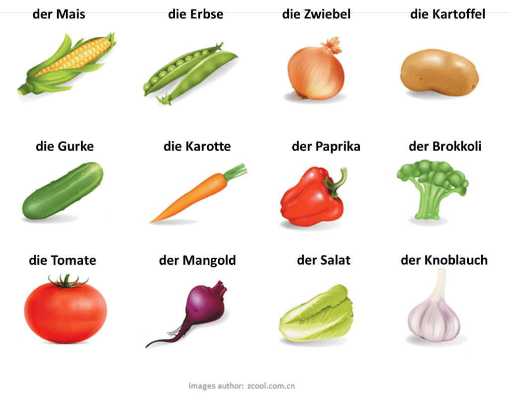 zelenina po nemecky - nemčina pre samoukov