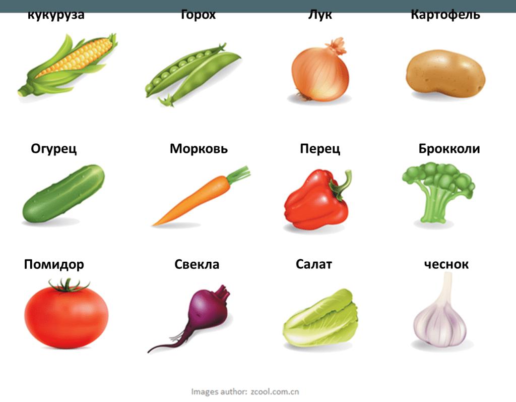 zelenina po rusky