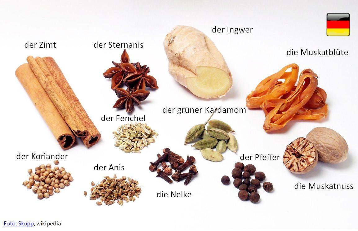 nemčina pre samoukov - bylinky a korenia po nemecky