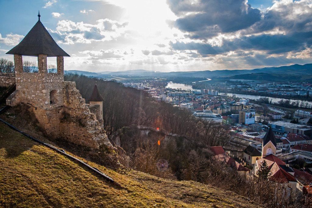 Trenčín - západ slnka a výhľad z hradu