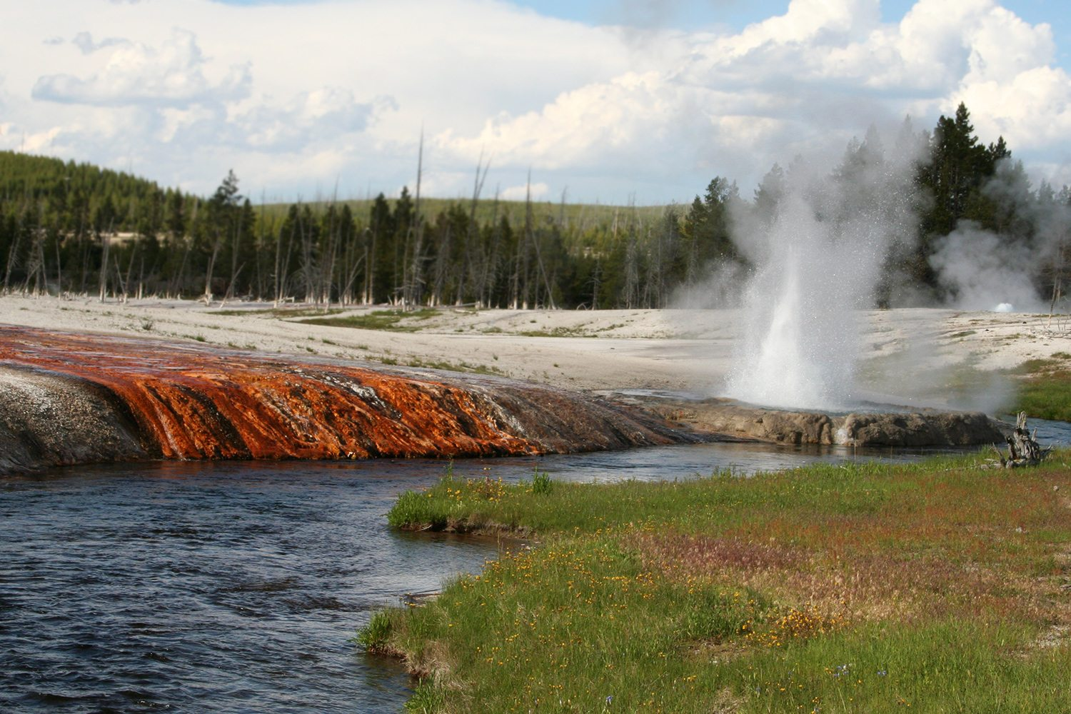 Yellowstone National Park - river and geyser