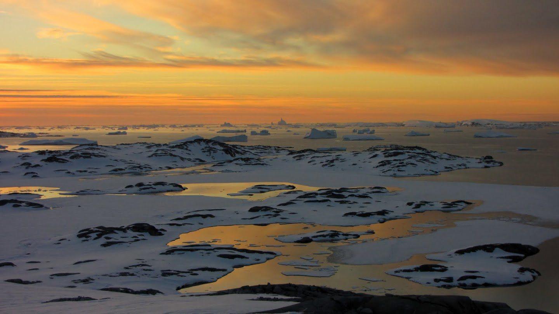 západ slnka Antarktída