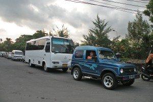 Jeep v zápche na Bali