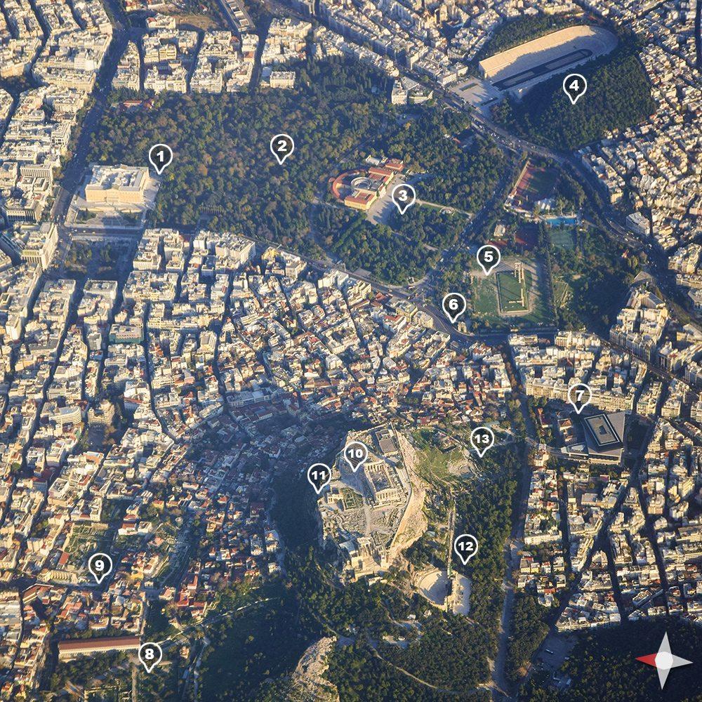turistická mapa atény