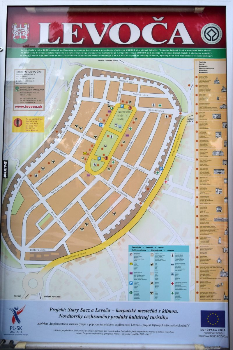 mapa Levoče