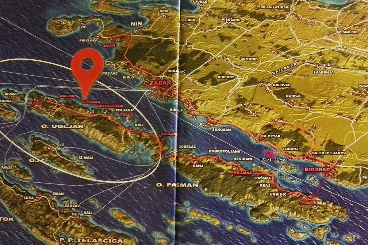 ostrov ugljan a chorvátsko mapa