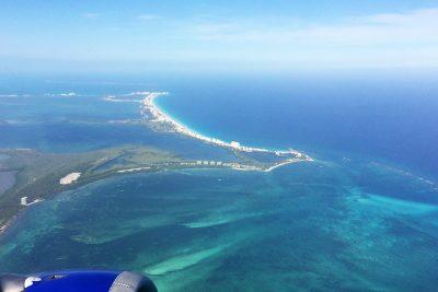 Cancún z lietadla