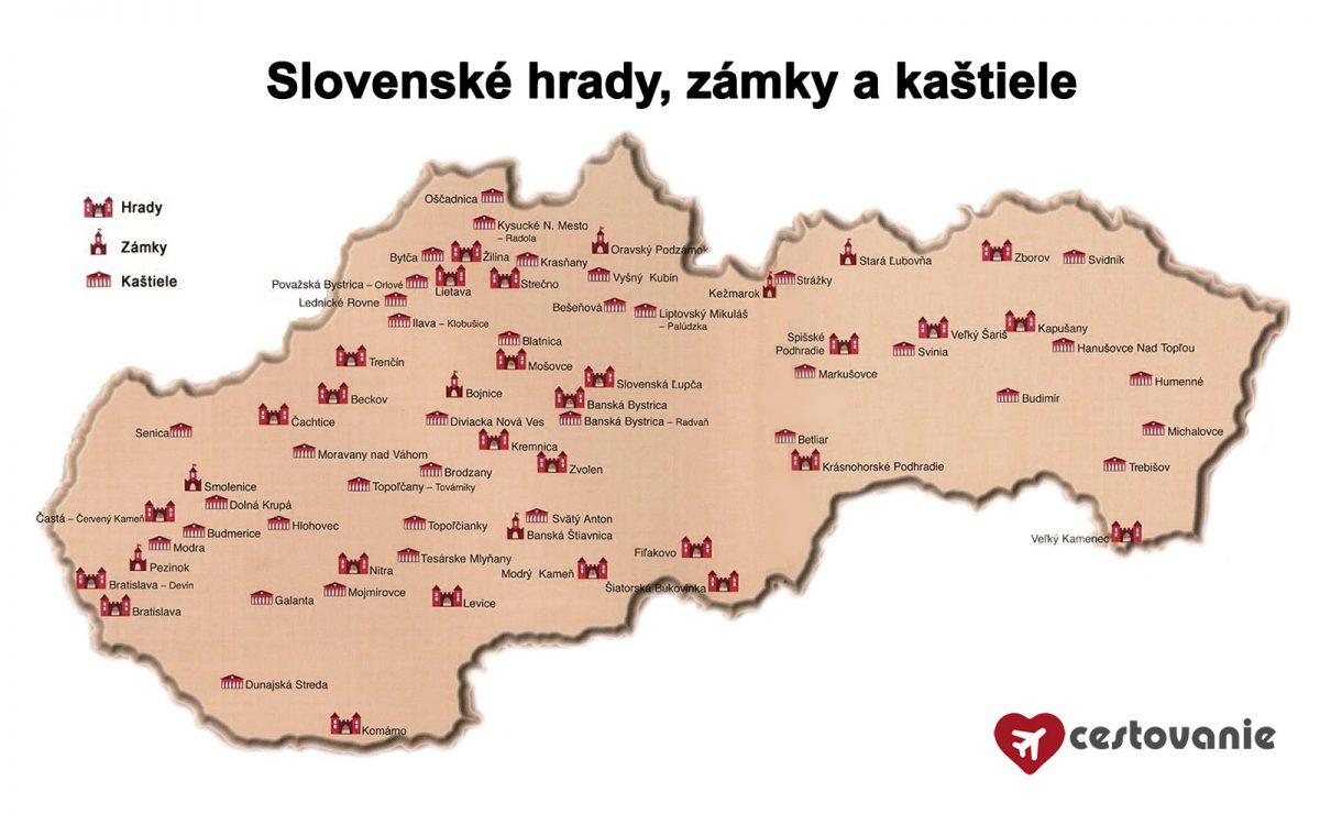 mapa - slovenské hrady a zámky
