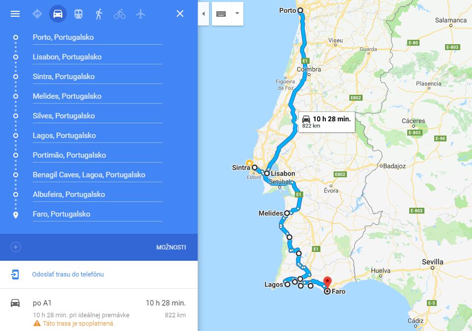 roadtrip portugalsko autom