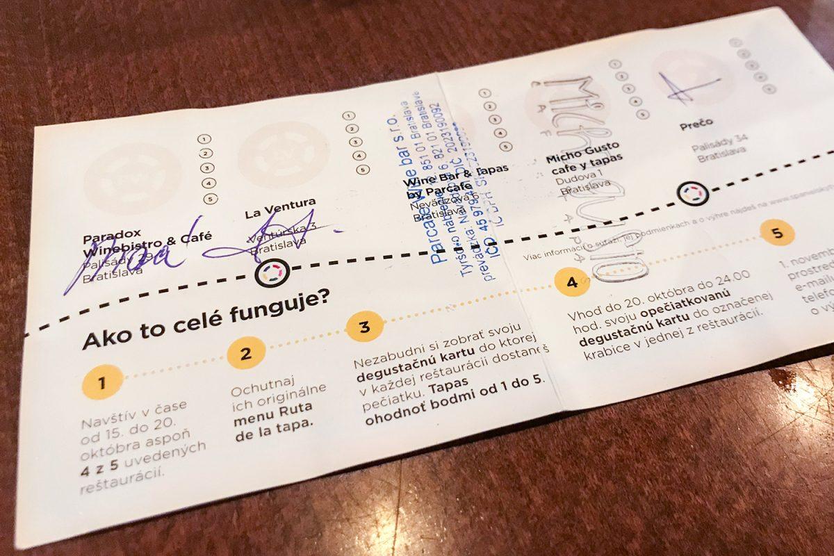 degustačná kartička ruta de la tapa