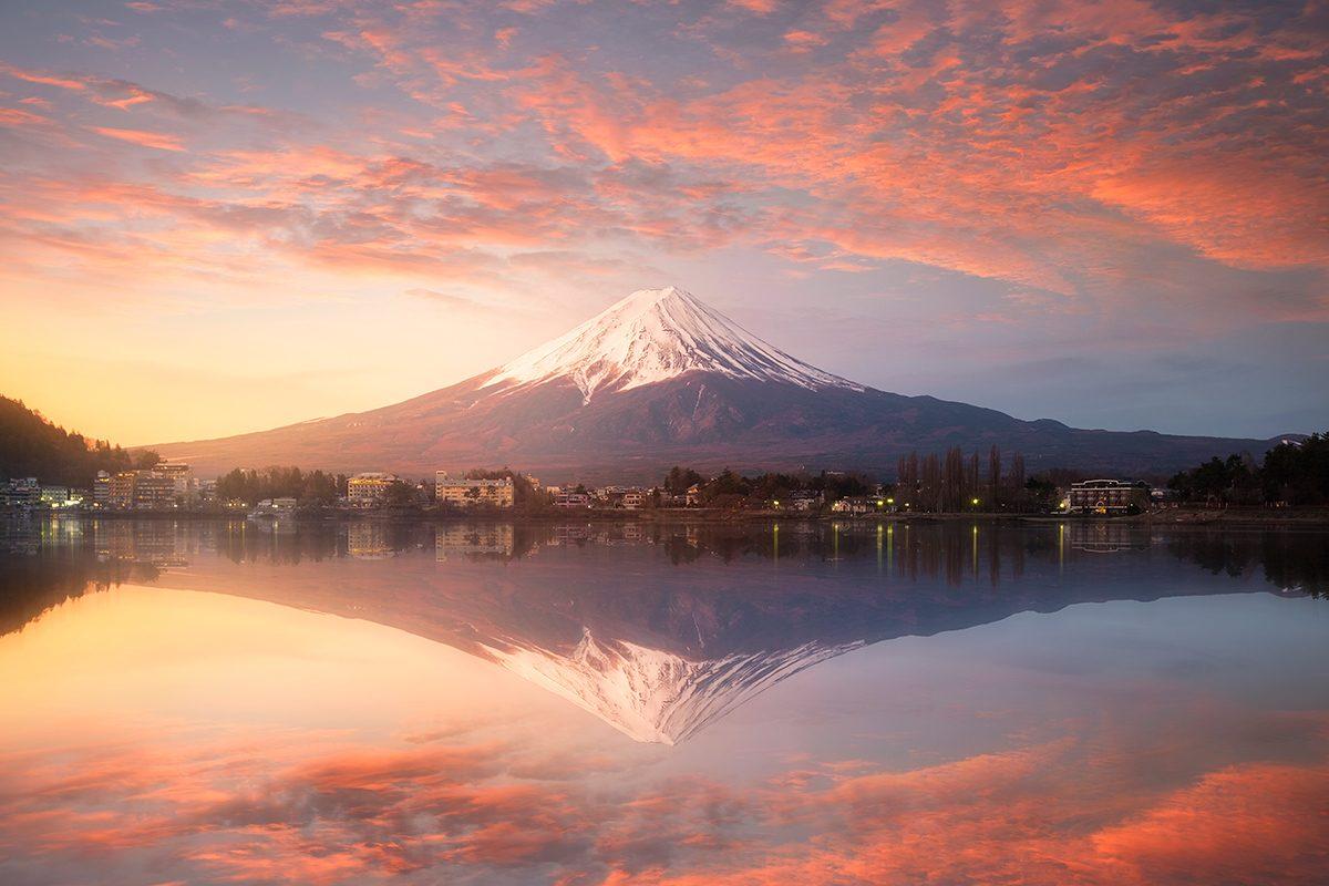 Západ slnka Fudžisan, Japonsko